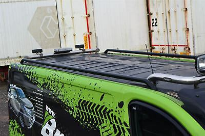 To Fit 2014+ Opel Vauxhall Vivaro SWB Steel Side Roof Rails Racks Bars - Black