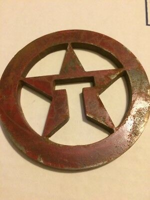 Vintage Texaco Emblem Steel Gas Pump Sign Station Antique Not Porcelain Lamp