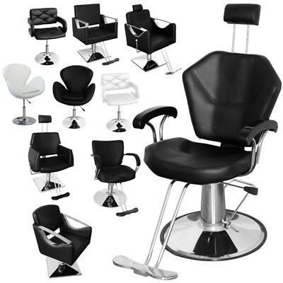 Hydraulic Black/White Barber Chair Recliner Beauty Salon Seat Hairdressing Stool