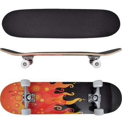 Skateboard Ovale Planche à roulettes Skate-board 9 Couches Erable  Flammes 8''☺