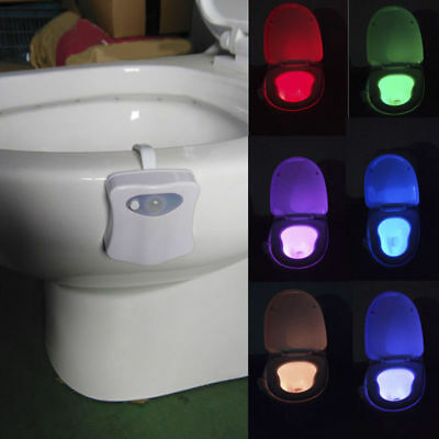 Toilet Night Light 8 Color LED Motion Activated Sensor Lamp Bathroom Seat Bowl