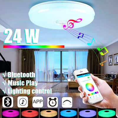 """24W Dimmable 15"""" Inch LED Bluetooth Music Play Ceiling Light with Speaker APP"""