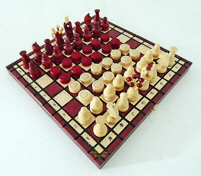 Brand New Handcrafted Kingdom Travel Wooden Chess And Checkers Set 11 Inch Red