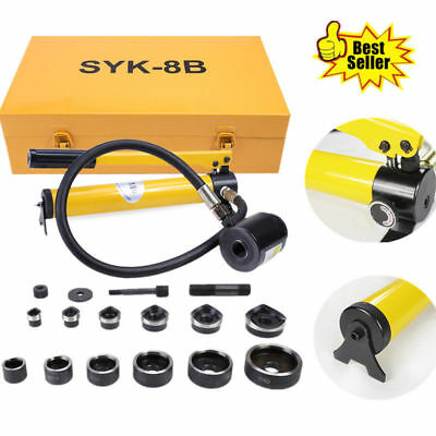 10 Ton Hydraulic Knockout Punch Driver Kit 6 Conduit Die 1/2 Hole Hand Tool UK
