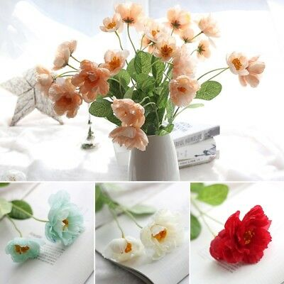 Poppies Artificial Flower Real Touch Bridal Wedding Bouquet Home Decoration x 1