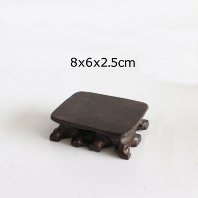 1 Pcs 8x6x2.5cm Rectangular Carved Black Wooden Mame Bonsai Stand for Display