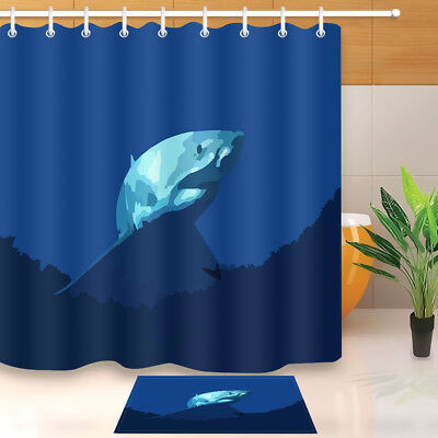 Fabric Shower Curtain Liner Waterproof Deep Sea White Shark Bathroom Mat Hooks