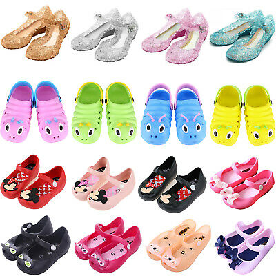 Kids Girl Summer Jelly Sandals Princess Frozen Elsa Cosplay Party Shoes Slip On