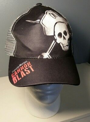 Captain Morgan Cannon Blast Mesh Trucker Hat Skull Crossbones Pirate Rum Cap