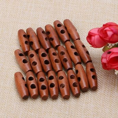 50Pcs/lot Buttons 2 Holes Wood Horn DIY Craft Sewing Clothing Accessories