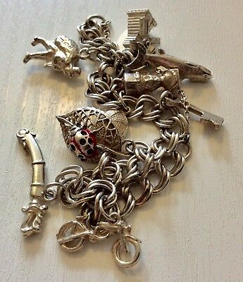 Beautiful Ladies Heavy Vintage Solid Silver Charm Bracelet With Charms Nice