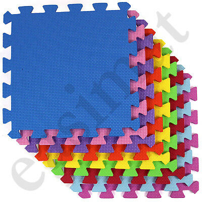 18pc Interlocking Child Kids Soft Foam Tiles Coloured Play Mat Floor Activity