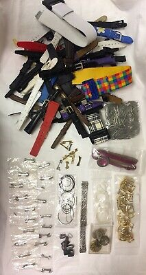 JOB LOT Watch Straps x 50/Movements/Balance Wheels/Buckles/Spring Pins/Gaskets