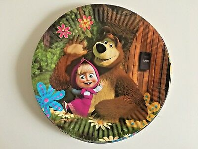 10 pcs Masha and The bear Small Plates Kids birthday party tableware decoration