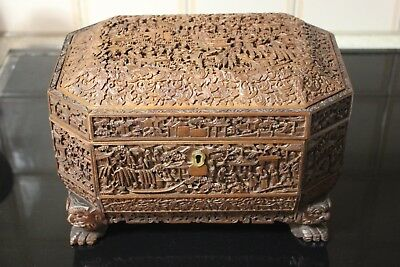Antique Chinese Cantonese Carved Sandalwood Jewelry Box