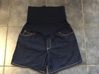 New Liz Lange Ladies Denim Blue Over Bump Maternity Baby Bump Shorts Sz S 10/12