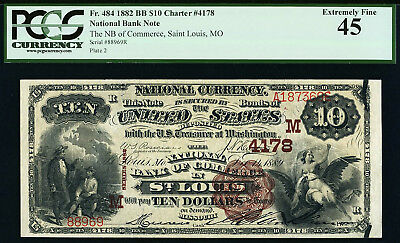 Fr. 484 1882 $10 St. Louis -- BROWN BACK Ch# 4178 -- PCGS XF EF45