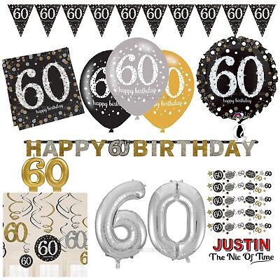 60th Gold Celebration Birthday Party Supplies Balloons Tableware & Decorations