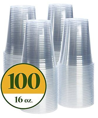 16 oz. Crystal Clear PET Plastic Cups 100 Pack Disposables Tabletop Serving