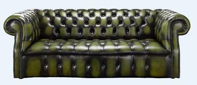 Chesterfield Darcy 3 Seater Buttoned Seat Antique Olive Green Leather Sofa