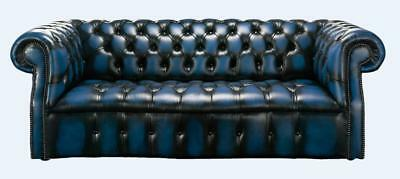 Chesterfield Darcy 3 Seater Buttoned Seat Antique Blue Leather Sofa