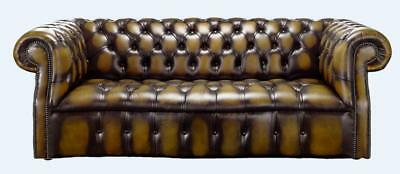 Chesterfield Darcy 3 Seater Buttoned Seat Antique Gold Leather Sofa