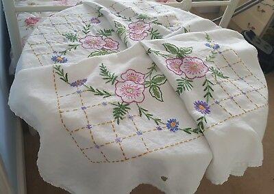 "Beautiful large hand embroidered  vintage tablecloth 46""x47"" tea party"