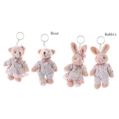 1 Pair Couple Bear Rabbit Plush Toy Floral Cloth Rabbit Bunny Doll Key PendantME