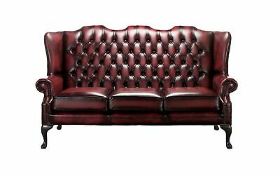 Chesterfield 3 Seater Queen Anne Mallory High Back Oxblood Leather Sofa