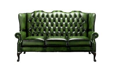 Chesterfield New 3 Seater Queen Anne Mallory High Back Antique Green Leather