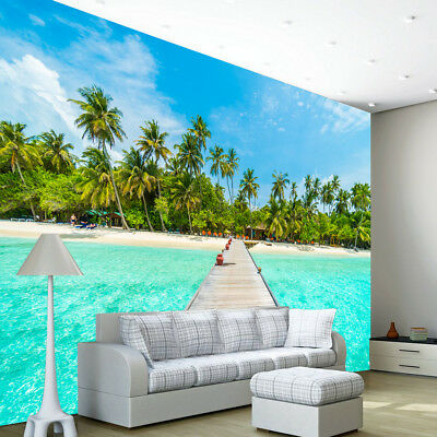 Beach Wallpaper Wall Mural Ocean Sea Tree Water Photo Bedroom