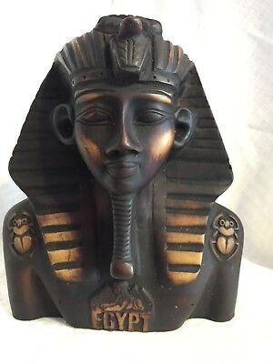 Hand Carved Egyptian Wooden Statue of King Tut