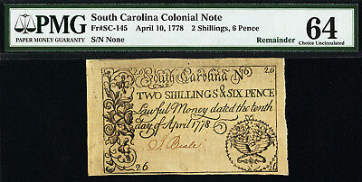 APRIL 10, 1778 2s 6d South Carolina Colonial Note PMG 64 CH UNCIRCULATED SC-145