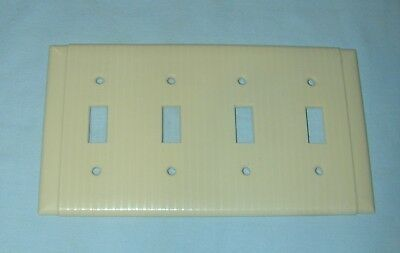 Vintage IVORY UNILINE BAKELITE Ribbed 4 Toggle Wall Light Switch Plate
