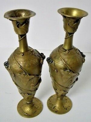Antique Auguste Nicolas Cain Mid-19th Century Signed Bronze Candle Holders