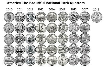 National Parks 32 Quarter Set 2010-2016 America the Beautiful Uncirculated!