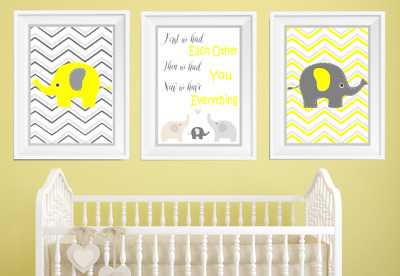 First We Had Each Other Elephant Boys Nursery Print Set, Grey And Yellow Baby