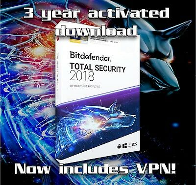 Bitdefender Total Security 2018 - 3 years activation 1 device - download only