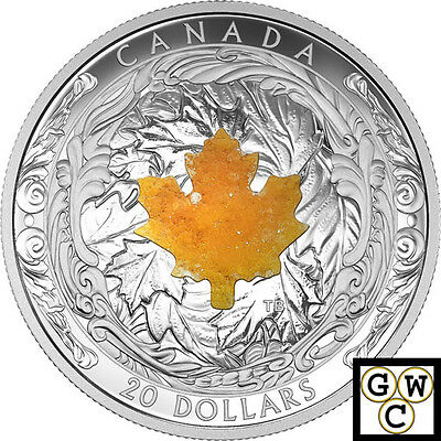 2016 Majestic Maple Leaves w/Drusy Stone Proof $20 Silver Coin 9999 Fine(17489)