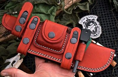 CFK Handmade Red Leather Horizontal Knife Blade Sheath Wet Stone & Fire Rod Set
