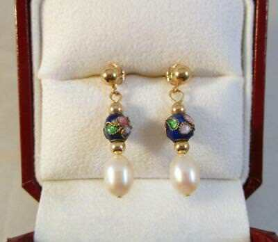 Antique 14K Solid Yellow Gold Pearl & Cloisonne Bead Pierced Dangle Earrings