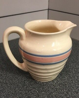 "McCOY 6""  Pitcher, PINK AND BLUE STRIPES No Chips Marked USA E-7 Nice Oldie"