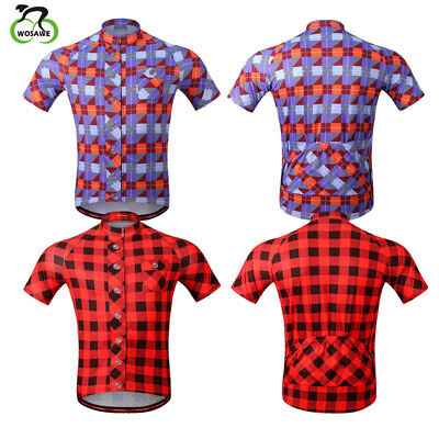 Mens Cycling Classic Lattice Jersey Breathable Elastic Bike Wear Sports  Shirt c15e40e37