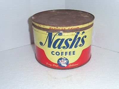 Vintage NASH'S  COFFEE CAN 1lb With Lid