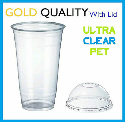 100 20oz CLEAR PLASTIC CUPS WITH DOME LIDS SMOOTHIE DISPOSABLE CUP 600mL