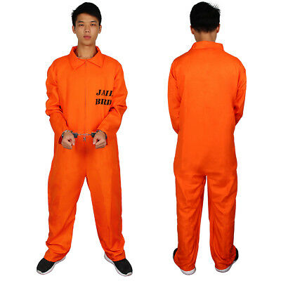 Men Prisoner Convict Costume Halloween Fancy Dress Overalls Jumpsuit Uniform AU