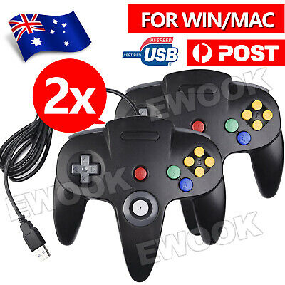 2X New NINTENDO 64 N64 GAMES CLASSIC GAMEPAD CONTROLLERS FOR USB TO PC / MAC AU
