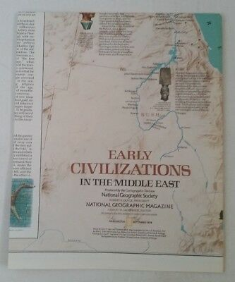 National Geographic Magazine map supplement Early Civilizations In Middle East