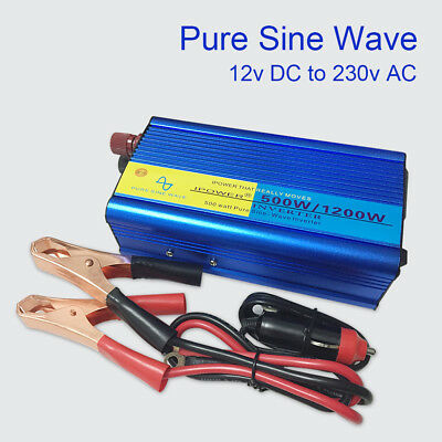 500w/1200w pure sine wave power inverter DC 12v to AC 230v car converter camping