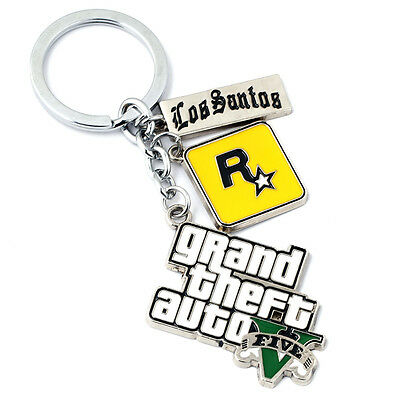New GTA Grand Theft Aut Keychain Key Ring Pendant Collectible Hangings Gift